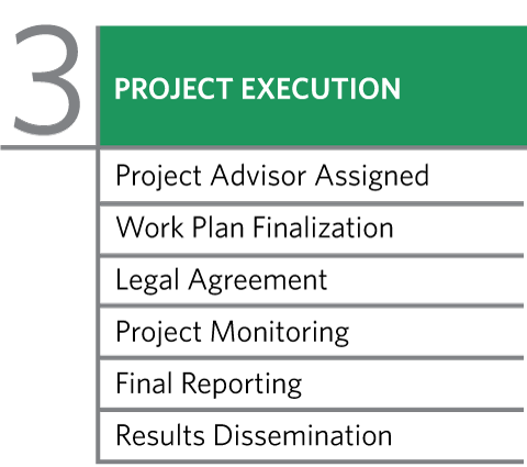 Stage 3 - Project Execution: Project Advisor Assigned, Work Plan Finalization, Legal Agreement, Project Monitoring, Final Reporting, Results Dissemination